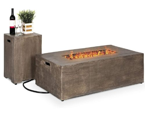 4.Best Choice Products 48x27-inch 50,000 BTU Outdoor Patio Rustic Farmhouse Wood Finish Propane Fire Pit Table and Gas Tank
