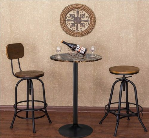 6.Furmax Bistro Pub Table Round Bar Height Cocktail Table Metal Base MDF Top