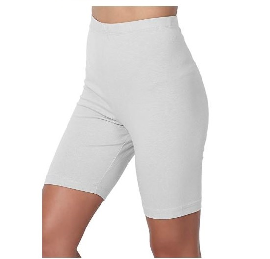 6.TheMogan Mid Thigh Stretch Cotton Span High Waist Active Bermuda Short Leggings
