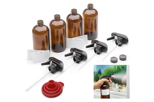 7. 16oz Empty Amber Dark Brown Glass Spray Bottles w/Labels, Caps, and Funnel