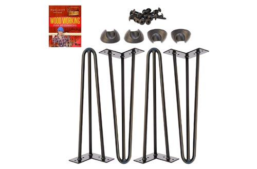 7. Omoi Hardware Hairpin Legs, 3 Rods, Heavy Duty, Black, Set of 4 Legs, 4 Floor Protectors & Screws - for Patio Bench and Coffee Table