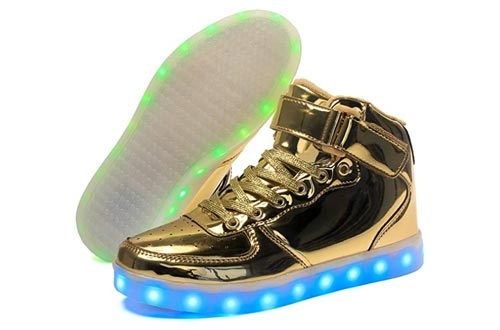 7. Voovix Kids LED Light up Shoes USB Charging Flashing High-top Sneakers for Boys and Girls Child Unisex