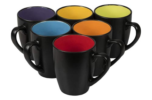 8. Klikel Black Coffee Mugs 14oz Set of 6 - Flat Bottom Stoneware Fits Coffee Makers - Black Cup with Multi Color Inside