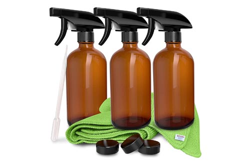 9. 3 Pack - Refillable Empty Amber Glass Spray Bottles 16 OZ for Cleaning Solutions, Hair, Essential Oils, Plants