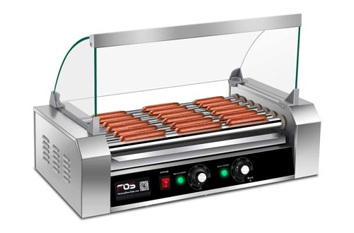 9. Giantex Electric Sausage Grill Hot Dog Grill Cooker 7 Rollers for 18 Hotdogs Stainless Steel Hot Dog Warmer Sausage Grilling Machine Sausage Roller Grill with Cover, Commercial Grade 1200W