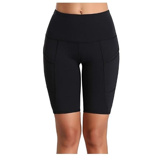 9.Oalka Women's Short Yoga Side Pockets High Waist Workout Running Shorts