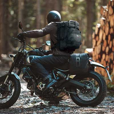 2. Motorcycle Backpack Bag with USB-Charge Port by kemimoto