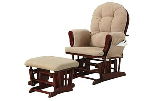 1. Upholstery Glider Rocker with Matching Ottoman Beige and Cherry by Coaster Home Furnishings - Nursing Chairs