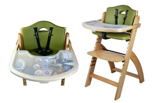 10. Abiie Beyond Wooden High Chair with Tray, The Perfect Seating Highchair Solution for Your Child