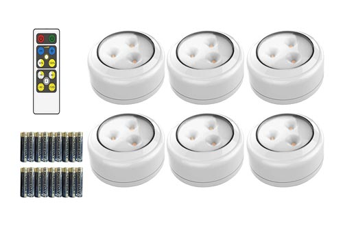 10. Brilliant Evolution Wireless LED Puck Light 6 Pack with Remote Control - LED Under Cabinet Lighting