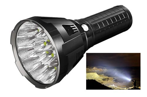 10. IMALENT MS18 Brightest Flashlight 100,000 Lumens, 18pcs Cree XHP70 2nd LEDs, Long Throw Up to 1350 meters Waterproof Powerfull Torch