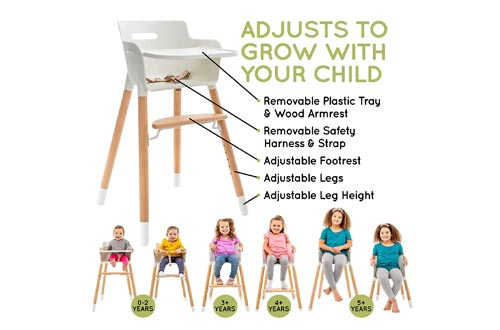 2. WeeSprout Wooden High Chair for Babies & Toddlers - 3 in 1 High Chair - Adjustable Footrest