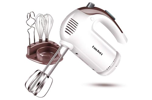 3. DmofwHi 5 Speed Hand Mixer Electric, 300W Ultra Power Kitchen Hand Mixers with 6 Stainless Steel Attachments and Storage Case