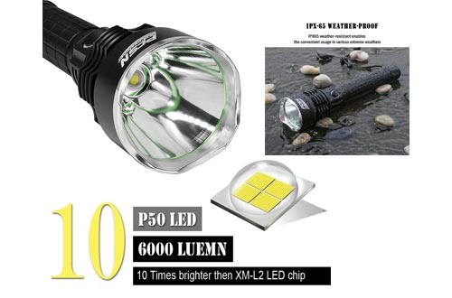 3. Powerful Flashlight Rechargeable Waterproof Searchlight with P50 LED Brightest 6000 Lumen Tactical Flashlight Super Bright