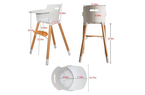 4. Asunflower Wooden High Chair Adjustable Feeding Baby Highchairs Solution with Tray for Baby