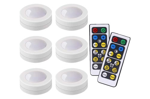 4. LEDERA Wireless LED Puck Lights, Kitchen under Cabinet Lighting with Remote Control