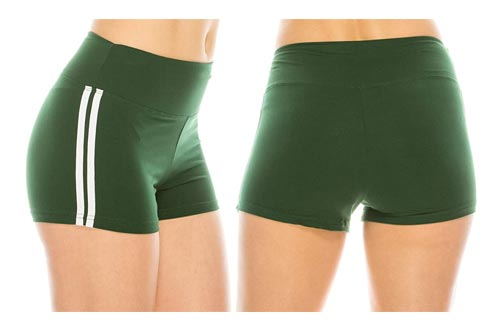 5. ALWAYS Women Workout Yoga Shorts - Premium Buttery Soft Stretch Athletic Running Dance Voleyball Short Pants with Stripes