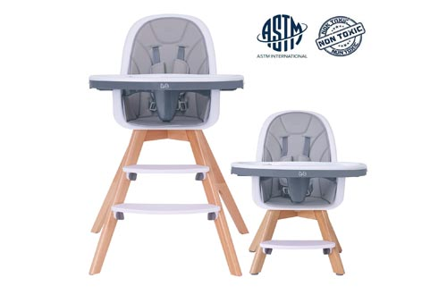 5. HAN-MM Baby High Chair with Removable Gray Tray, Wooden High Chair, Adjustable Legs