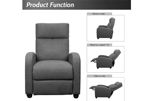 5. JUMMICO Fabric Recliner Chair Adjustable Home Theater Seating Single Recliner Sofa with Thick Seat Cushion and Backrest Modern Living Room Recliners