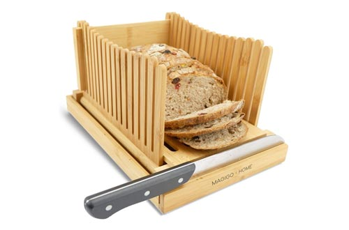 5. MAGIGO Nature Bamboo Foldable with Crumb Catcher Tray, Guide