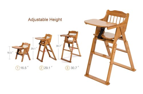 6. ELENKER High Chair Wood for Baby Toddler, Foldable Wooden Highchair, 3 Gear Adjustable Height, Easy Clean