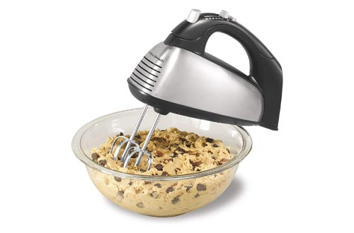 6. Hamilton Beach Classic 6-Speed Electric Hand Mixer with Snap-On Storage Case, Brushed Stainless
