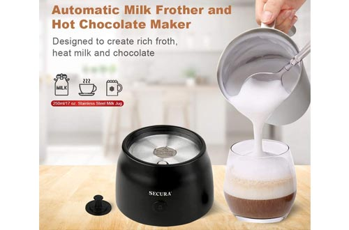 7. Secura 4 in 1 Electric Automatic Milk Frother and Hot Chocolate Maker Machine 8.45 oz Stainless Steel Dishwasher Safe