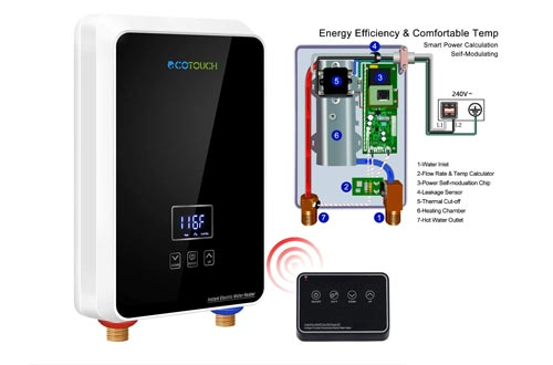 8. ECOTOUCH Tankless Water Heater Electric, 1.5 GPM on Demand Hot Water Heater with Remote Control