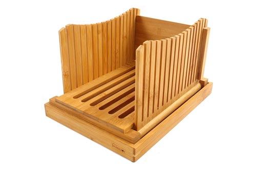 8. Purenjoy Bamboo Wood Foldable Compact Guide with Crumb Catcher Tray