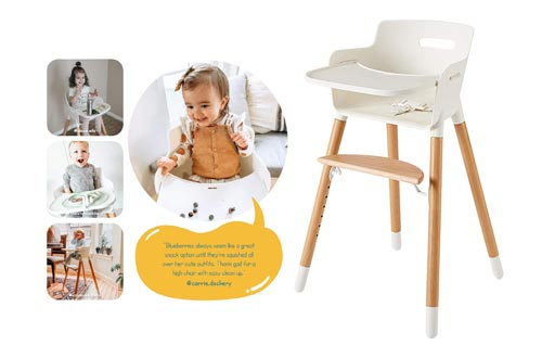 8. Wooden High Chair for Babies and Toddlers - with Harness, Removable Tray, and Adjustable Legs