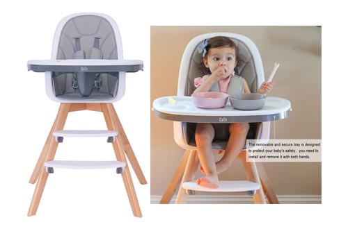 9. Baby High Chair with Double Removable Tray for Baby, 3-in-1 Wooden High Chair
