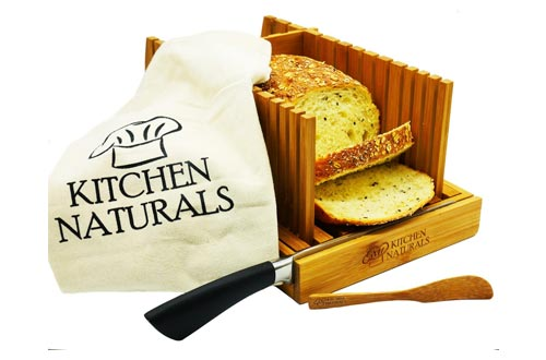 9. Premium Bamboo Foldable - Built in Crumb Catcher and Knife Rest, Loaf - BONUS Bamboo Butter Spreader