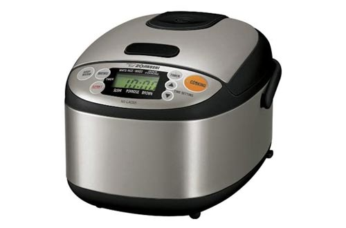 9. Zojirushi NS-LAC05XT Micom 3-Cup Rice Cooker and Warmer, Black and Stainless Steel