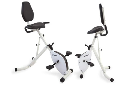 1. FitDesk Folding Stationary Exercise Bike Desk with Massage Bar and Bands