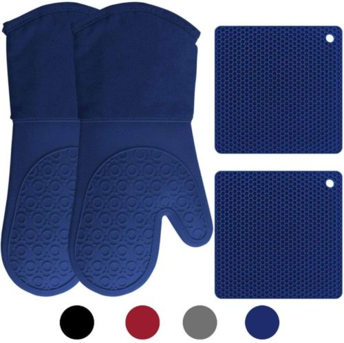 1.HOMWE Silicone Oven Mitts and Pot Holders, 4-Piece Set, Heavy Duty Cooking Gloves, Kitchen Counter Safe Trivet Mats, Advanced Heat Resistance, Non-Slip Textured Grip, Black