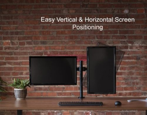 1.VIVO Dual LCD Monitor Desk Mount Stand Heavy Duty Fully Adjustable fits 2 Two Screens up to 27(STAND-V002)