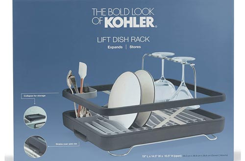 10. KOHLER Large Collapsible & Storable Dish Drying Rack with Wine Glass Holder and Collapsible Utensil Band
