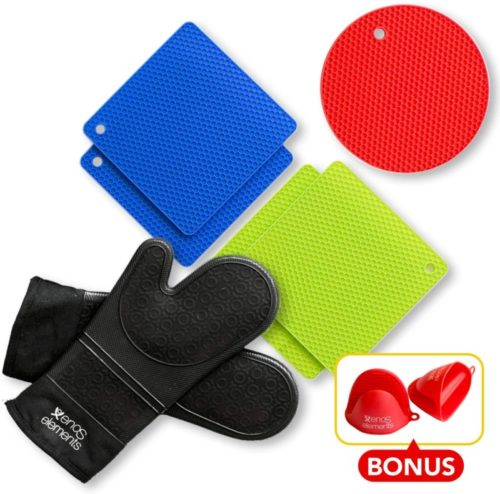 10.BONUS- 2 RED Pinch Mitt Holders Silicon Oven Mitts and Pot Holders (7 Piece Set)- BLACK SILICONE OVEN MITTS