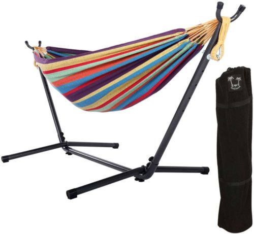 10.ONCLOUD Double Hammock with 9 FT Stand Space Saving, Hammock Stands Heavy Duty Includes Portable Carrying Case for Outdoor or Indoor (Rainbow)