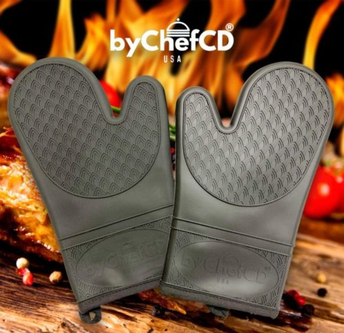 11.ByChefCD Silicone Oven Mitt (1 Pair) Double-Layer, Heat Resistant Baking Gloves (Blue)