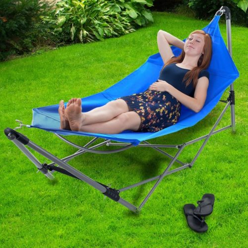 11.Pure Garden Portable Hammock with Stand-Folds and Fits into Included Carry Bag for Easy Travel-Perfect for Backyard, Pool, Beach, Hiking and More