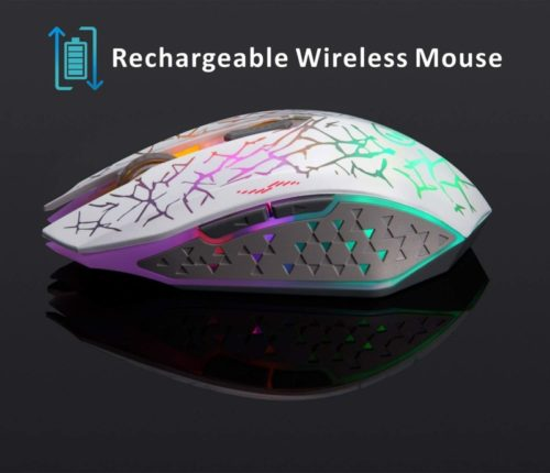 11.TENMOS K6 Wireless Gaming Mouse, Rechargeable Silent LED Optical Computer Mice with USB Receiver, 3 Adjustable DPI Level and 6 Buttons