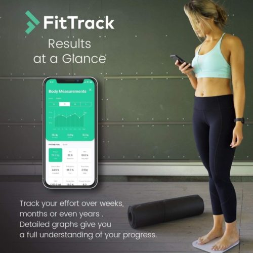 12.FitTrack Dara Smart BMI Digital Scale - Measure Weight and Body Fat - Most Accurate Bluetooth Glass Bathroom