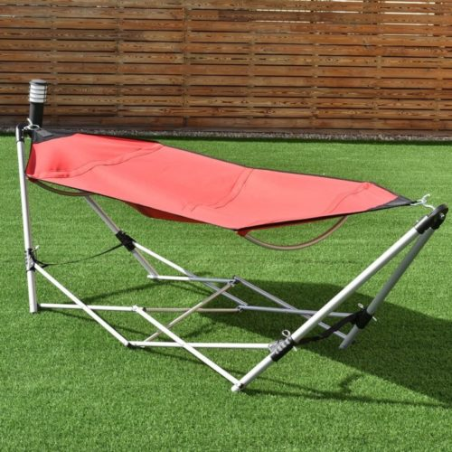 13.Giantex Portable Hammock with Stand, Folding Lounge Camping Bed with Carry Bag for Camping Outdoor Patio Yard Beach