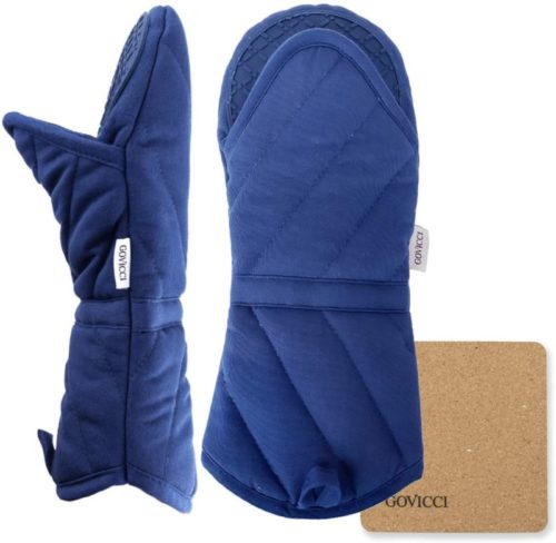14.Govicci Oven Mitts with Silicone Grip for Heat Resistance 1 Pair of Hot Oven Mitts with Cotton Lining