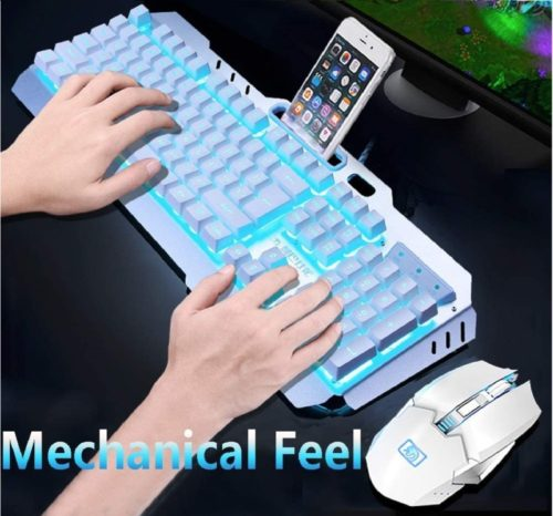 14.Rechargeable Keyboard and Mouse,Suspended Keycap Mechanical Feel Metal Panel Gaming Keyboard Mouse Combo