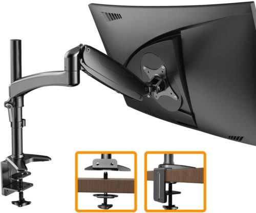 15.ErGear Monitor Mount for 15-32 Flat Curved Monitors, Full Motion Gas Spring Arm Improved LCD LED Computer Monitor Riser