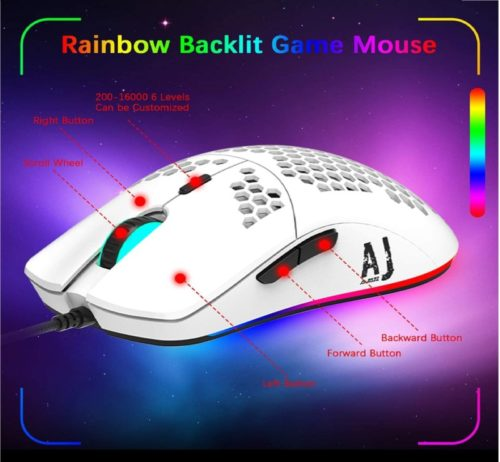 15.LexonElec AJ390 Gaming Mouse with 16,000 DPI Optical Sensor Chroma RGB Lighting,69g Lightweight Honeycomb Shell,Ultraweave Cable