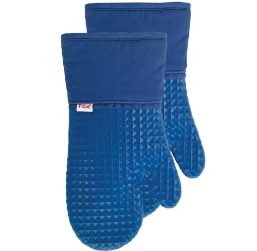 15.T-fal Textiles Waffle Silicone Oven Mitt Set, Softflex,Non-Slip Grip, Heat Resistant, 13-inches x 7-inches, 2 Pack, Blue