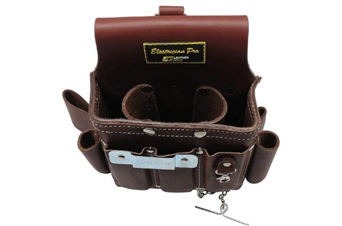 2. Leather Gold Leather Electrician Tool Pouch, Brown - Professional Tool Belt 3400